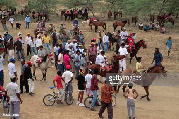 Preperations for Horse Race at Wayuu Festival in Uribia