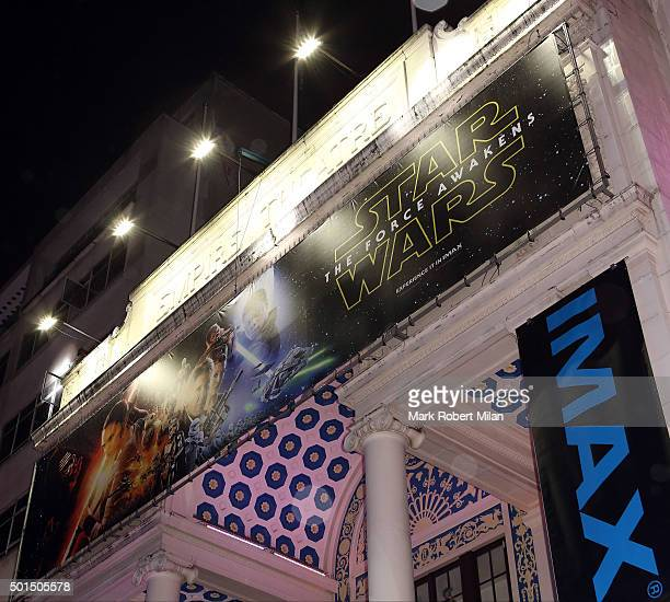 Preperations for the Star Wars The Force Awakens European premiere in Leicester Square on December 15 2015 in London England The film starring...