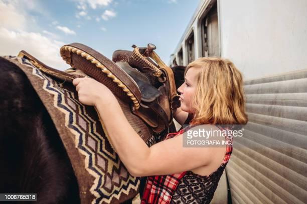 Prepping horses in Utah