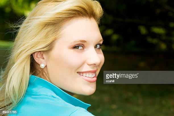 preppy blond - pearl earring stock pictures, royalty-free photos & images
