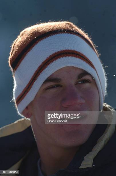 prepsplatte_canyon_bb_3 Quarterback AJ Melillo during a break from practice at the Platte Canyon High School on a snow covered field next to the...