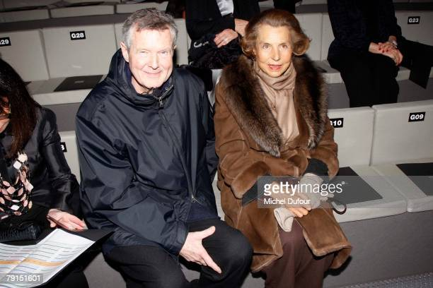 Prer Spook and Liliane Betancourt sit in the front row of the Giorgio Armani Prive Spring/Summer 2008 Haute Couture Collection Show January 21 2008...