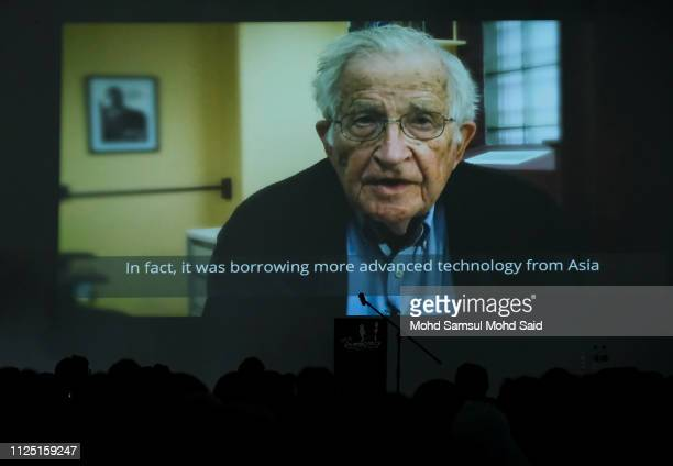 Prerecorded Human Rights and International politics Noam Chomsky display on screen during the celebrating democracy in Malaysia marked by Democracy...