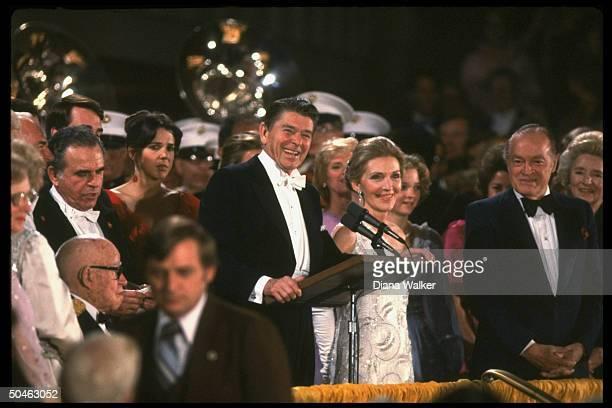 Pres. And Nancy Reagan at podium at inaugural gala, Kennedy Center; Bob Hope & wife Patti Reagan Omar Bradley , lower right.