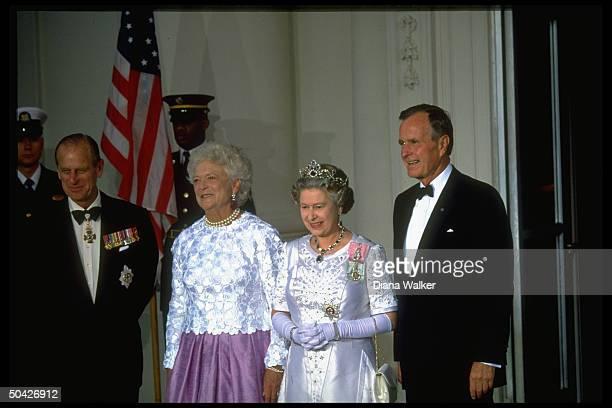 Pres Barbara Bush hosting Queen Elizabeth II resplendent jeweled tiara sparkling baubles Prince Philip at WH State Dinner