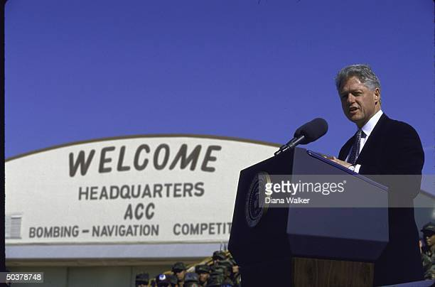 Pres. Bill Clinton delivering speech at Barksdale AFB.