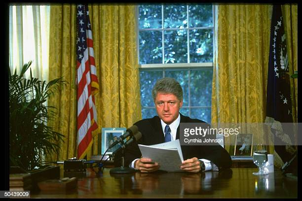Pres Bill Clinton discussing situation in Somalia in radio broadcast fr his WH Oval Office desk