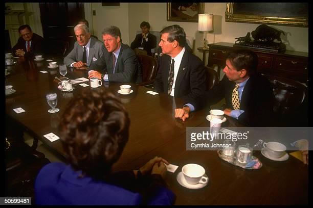 Pres Bill Clinton in WH Roosevelt Rm bipartisan mtg on NAFTA w US Trade Rep Mickey Kantor Rep Doug Bereuter House Spkr Tom Foley