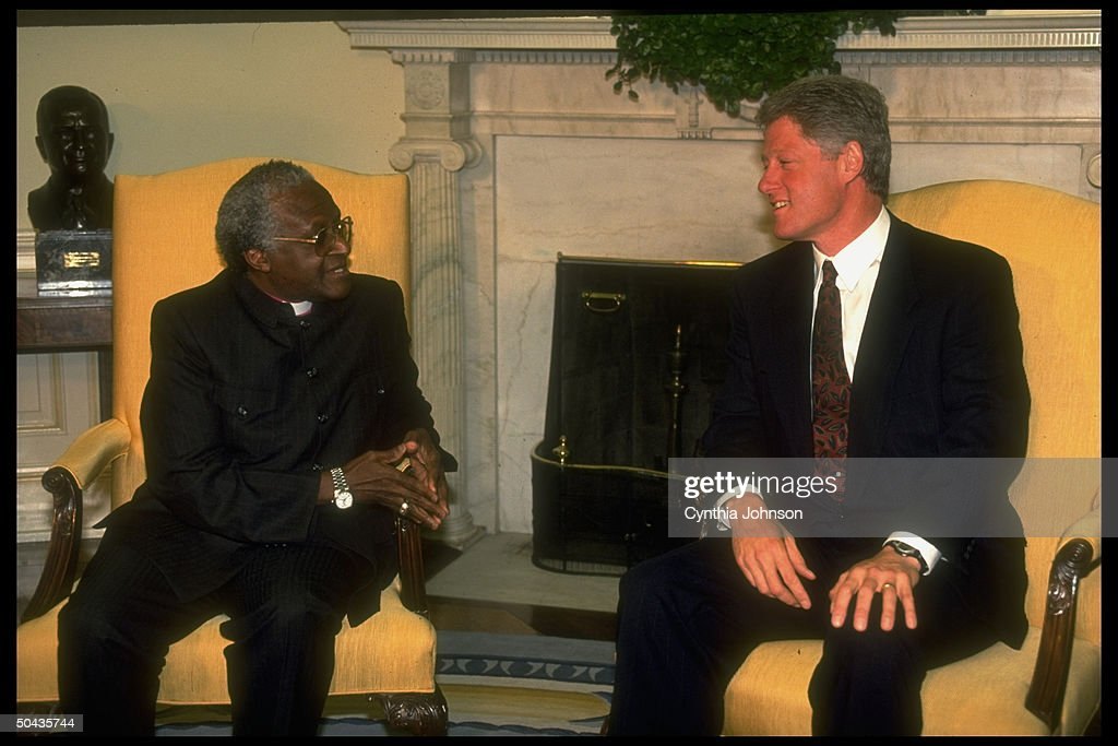 oval office fireplace. Pres. Bill Clinton (R) Mtg. W. S. African Archbishop Desmond Oval Office Fireplace F