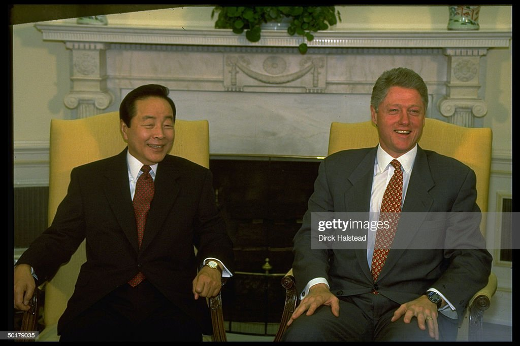 oval office fireplace. Pres. Bill Clinton \u0026 S. Korean Kim Young Sam (L) Oval Office Fireplace