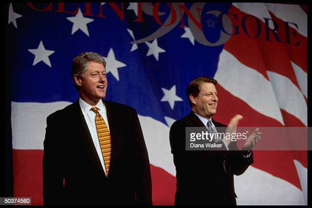 Pres Bill Clinton VP Al Gore at fundraiser for their 1996 reelection campaign