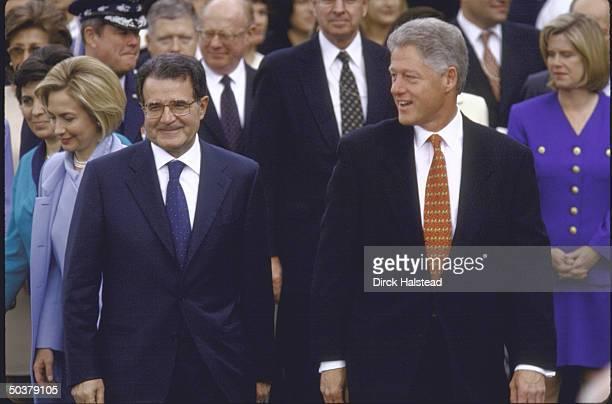 Pres Bill Clinton w Italian PM Romano Prodi at White House South Lawn arrival ceremony