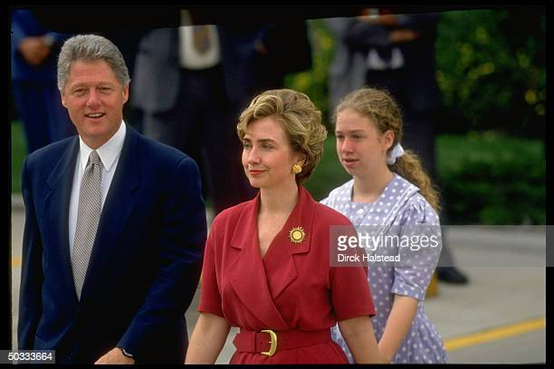 Pres Bill Hillary Rodham Clinton daughter Chelsea intow walking on Regis Univ campus during World Youth Day fete appearance by Pope John Paul II