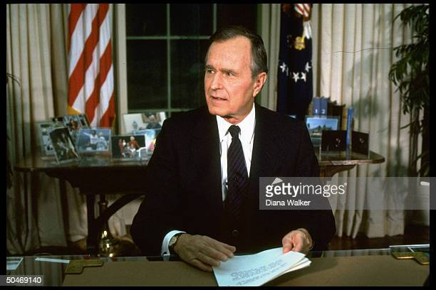 Pres. Bush addressing nation fr. WH Oval Office re start of OP Desert Storm, ushering in gulf war.