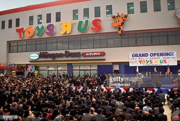 Pres. Bush at opening of Toys R Us store during his trade tour of Asia w. Business execs.