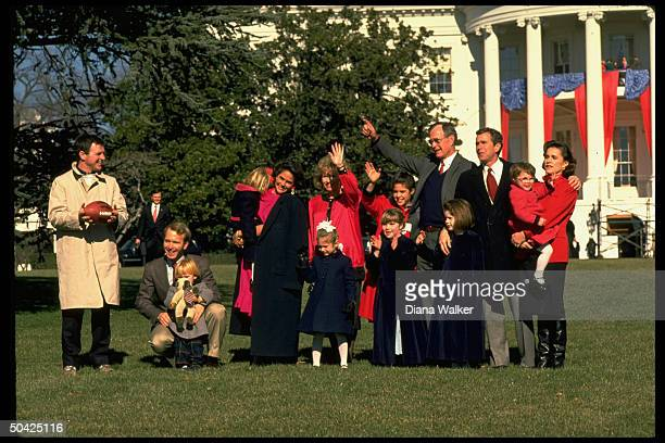Pres Bush progeny celebrating inaugural on WH lawn Doro George Sharon Margaret Neil footballholding Billy Leblond assorted grandchildren