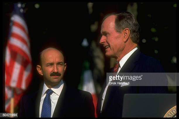 Pres Bush w Mexican Pres Salinas de Gortari during his 1st visit to US as Pres during which US/Mexico trade agreement was signed