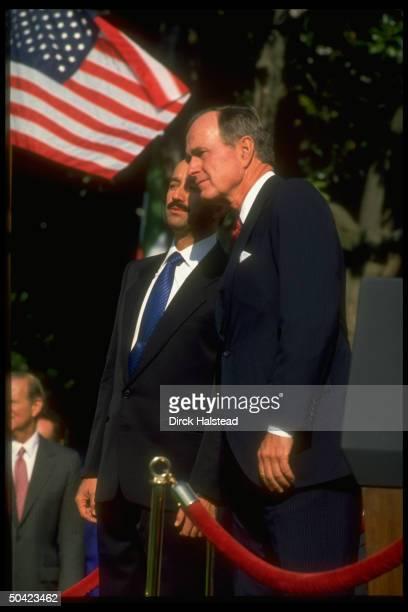 Pres. Bush w. Pres. Carlos Salinas de Gortari of Mexico at WH arrival ceremony.