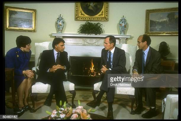 Pres Bush w Spanish PM Felipe Gonzalez flanked by interpreters in WH Oval Office