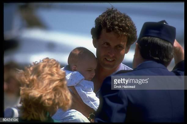 Pres Bush's son Marvin w infantinarms spending Memorial Day wkend in Kennebunkport ME