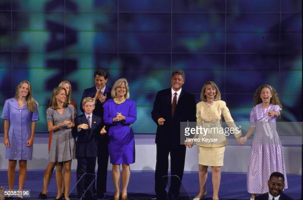 Pres candidate Bill Clinton w wife Hillary Rodham Clinton daughter Chelsea VP Al Gore w wife Tipper and kids Kristin Sarah Karenna Albert at...