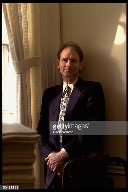 Pres. Clinton's dep. Chief of staff Harold Ickes in his White House West Wing office.