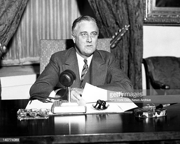 Pres Franklin D Roosevelt broadcast on bank holiday