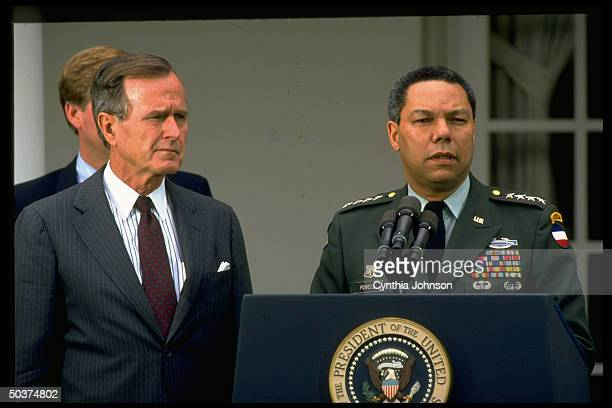 Pres George Bush announcing appointment of Gen Colin Powell to be chmn of Joint Chiefs of Staff in White House Rose Garden