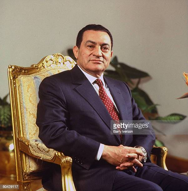 Pres Hosni Mubarak at presidential palace in Cairo Egypt