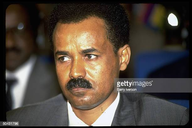 Pres Isaias Afewerki of Eritrea during African ldrs summit in Cairo Egypt