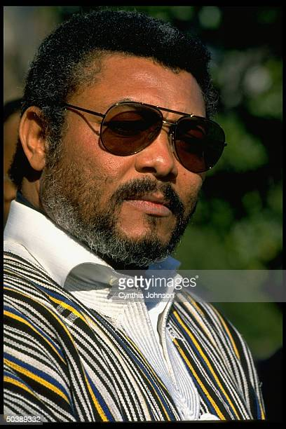 Pres Jerry Rawlings of Ghana speaking outside White House