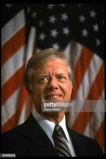 Pres Jimmy Carter in undated smiling portrait