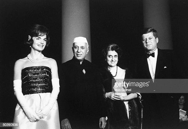Pres John F Kennedy and his wife welcoming India's Prime Minister Jawaharlal Nehru and his daughter Indira Gandhi