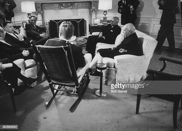 Pres. John F. Kennedy talking with India's Prime Minister Jawaharlal Nehru , Secy. Of State Dean Rusk and US Ambassador to India John Kenneth...