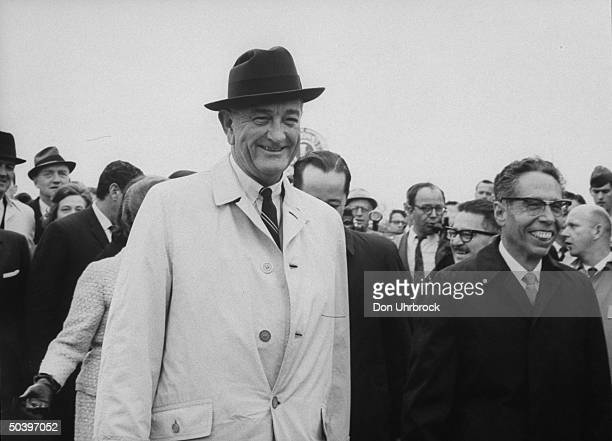 US Pres Lyndon B Johnson and Mexican Pres Gustavo Ordaz Diaz meeting to inspect Amistad Dam site
