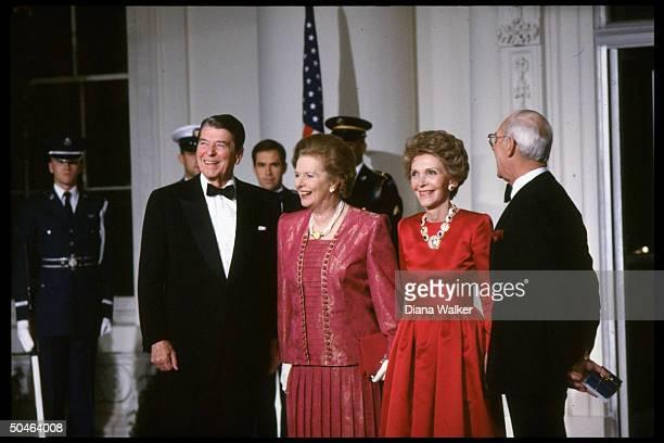 Pres Nancy Reagan w British PM Margaret Denis Thatcher during State Dinner