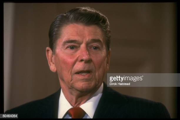 Pres Reagan holding press conf in East Room of WH