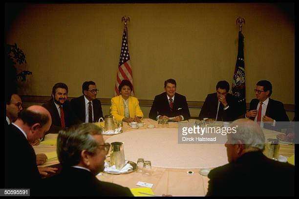 Pres Reagan mtg w Nicaraguan contra ldrs Maria Azucema Ferrey Enrique Bermudez Alfonso Robelo at Century Plaza Hotel