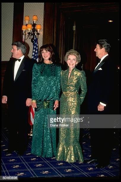 Pres Reagan Nancy Reagan Mila Canadian PM Brian Mulroney during USCanadian summit