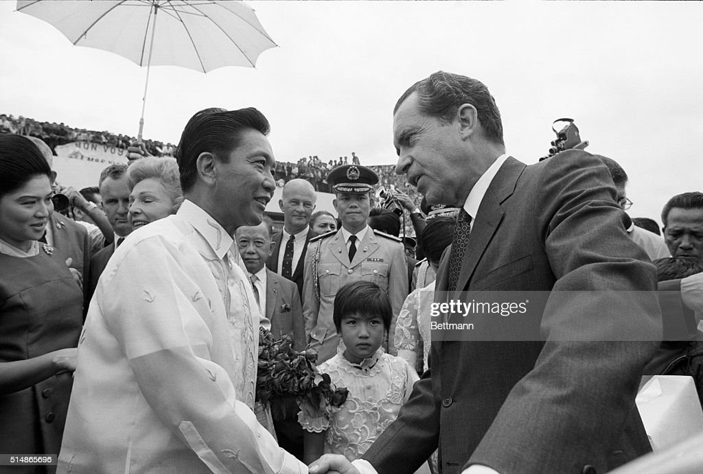 Pres. Nixon Shaking Hands With Marcos : News Photo