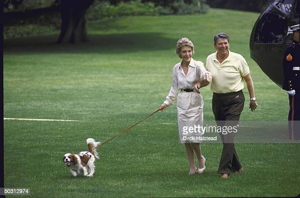 US Pres Ronald W Reagan and wife with First dog Rex walking on WH lawn after returning from Camp David