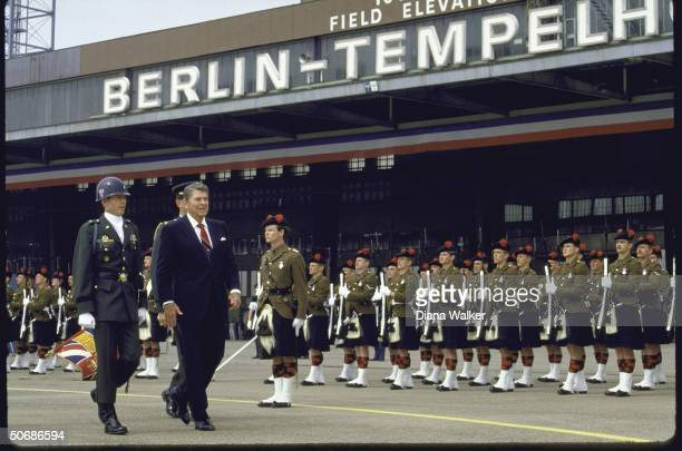 US Pres Ronald W Reagan reviewing troops upon arrival in West Berlin