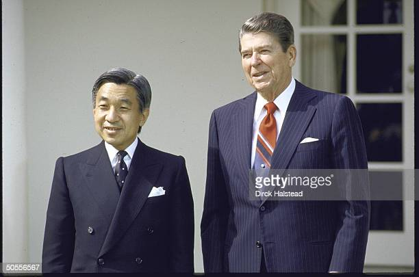 Pres. Ronald W. Reagan standing outside White House with Japan's Crown Prince Akihito.