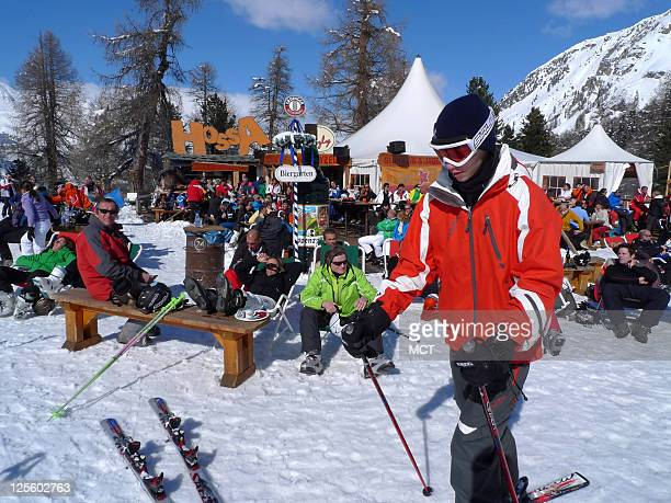 'A pres ski' at Hossa a bar featured in the Corvatsch ski area at Pontresina in Switzerland's Engadine Valley