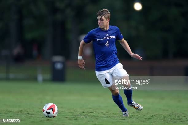 Presbyterian's Luca Ziegler during the Elon Phoenix hosted the Presbyterian College Blue Hose on September 2 2017 at Rudd Field in Elon NC in a...