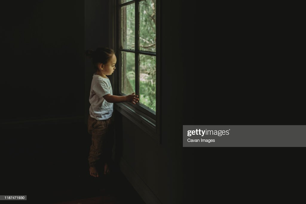 Preschool aged boy looking out the window at the trees : Stock Photo