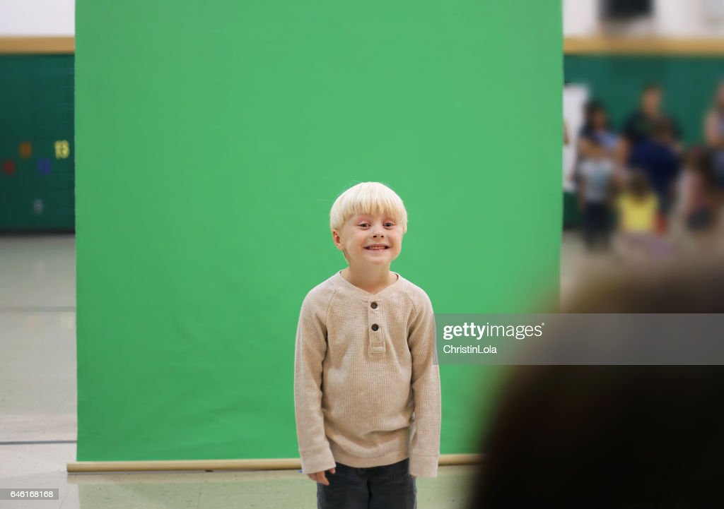 Preschool Child Getting School Picture Taken : Stock Photo
