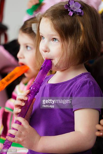 preschool children in a music class - recorder musical instrument stock photos and pictures