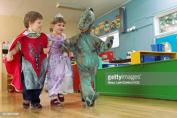 Preschool children wearing costumes