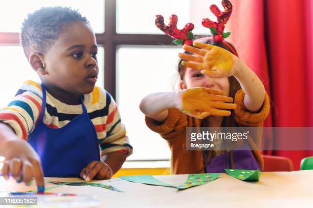 preschool christmas activities - craft stock pictures, royalty-free photos & images